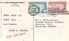 WEST INDIES 1959 AIRMAIL POSTCARD TO URUGUAY SCARCE DESTINATION