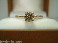 14K YELLOW GOLD CHAMPAGNE AND WHITE DIAMOND ENGAGEMENT RING 0.76 CARAT
