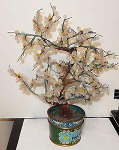 VINTAGE CLOISONNE ENAMEL ROSE QUARTZ JADE FLORAL STONE BLOSSOM TREE