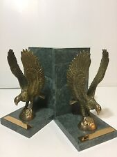 Pair Green Marble & Brass Eagle Bookends W/ Bible Verse Isaiah 40:31