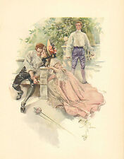 Harrison Fisher, Victorian, Pretty Lady, Fencing, Duel, 1907 Antique Art, Print.