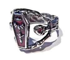SILVER COFFIN VAMPIRE RING casket skeletons gothic Halloween red sz 10.5 goth 6B