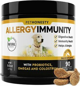 PetHonesty DOGS Allergy Relief Immunity Supplement Fish Oil Prebiotics 90 Chews
