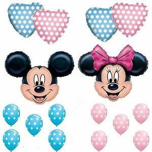16 balloons MICKEY MINNIE mouse pink blue gender reveal twin shower any occasion