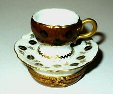 LIMOGES BOX ~ COFFEE CUP & SAUCER ~CAFE~ BEANS ~ COFFEE POT INSIDE ~ PEINT MAIN