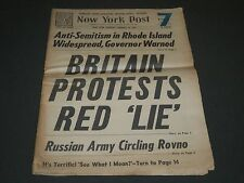 1944 JANUARY 18 NY POST NEWSPAPER - BRITAIN PROTESTS RED LIE - NP 2011