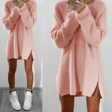 Women Winter Long Sleeve Jumper Tops Knitted Sweater Baggy Slit Tunic Mini Dress