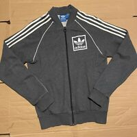 Men's Grey Adidas Full Zip Jersey Track Jacket Brand with 3 Stripes Size S
