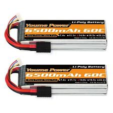 Youme 2PCS 4S 14.8V 6500mAh Lipo Battery with TRX Plug for Traxxas Slash X-Maxx