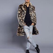 Faux Fur Mens Leopard Coat Autumn Winter Thick Long Jacket Warm Outwear Clothes