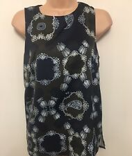 Bnwt Marks And Spencer Autograph , Women's Navy Mix Vest Top, Size 8.