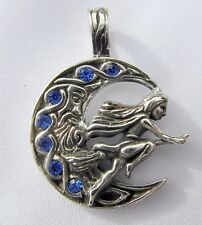 Sterling  Silver  925   Witch  Riding  Broomstick  Pendant  !!    Brand  New  !!