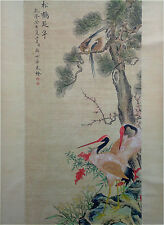 Rare Chinese Painting & Scroll Birds And Cranes By Lang Shining 郎世宁 WEDD