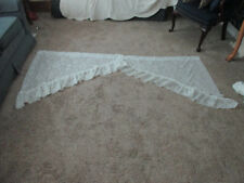 "Vintage  2 pc lace Swag Valance White Window Curtain Panel set 84 W x 38"" L"