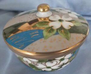 Japanese Arita Gold Gilt & White Flower Lidded Bowl