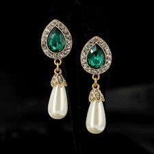 earrings CLIP Golden Drop Green Emerald Pearl Pear Class Marriage YW8