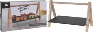 37CM SLATE SERVING PLATTER WITH WOODEN STAND FOOD SNACKS DINING