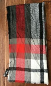Express Mens Scarf ~ Plaid With Fringed Ends ~ Red/Gray ~ One Size Fits All