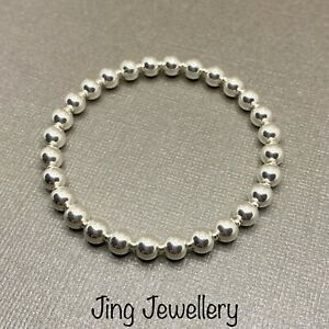 Sterling Silver Stretch Beaded Stacking Bracelet Chunky Plain 6mm Beads 925