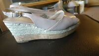 Ladies Nude Patent Slingback Wedges Size 6.5 Wide Fit M&S