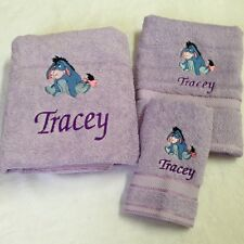 PERSONALISED x 3 BATH SET EMBROIDERED WITH ' EEYORE '