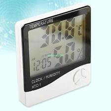 Digital LCD Temperature Humidity Meter Hygrometer Room Indoor Thermometer Clock