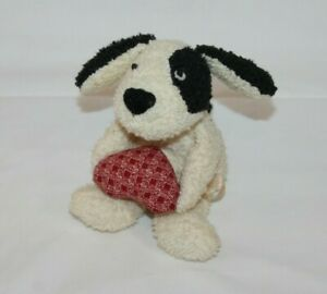"Russ 6"" White Dog Puppy Holding Heart Little Stuffed Animal Tiny White Terry"