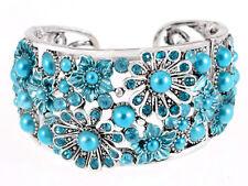 Frosted Coherer Bead Turquoise Aqua Blue Sea Flower Garden Bracelet Bangle Cuff