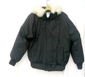 OBERMYER Down fill jacket siz 6 snow ski Sport fur trim removable hood zip snaps