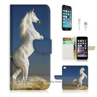 ( For iPhone 7 ) Wallet Case Cover P0064 White Horse