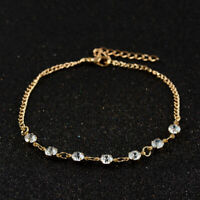 Women Lady Crystal Rhinestone Beads Anklet Ankle Bracelet Chain Summer Jewelry