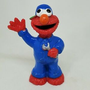 Vtg Elmo Mechanic PVC Figure Sesame Street Applause Cake Topper Wrench Coveralls