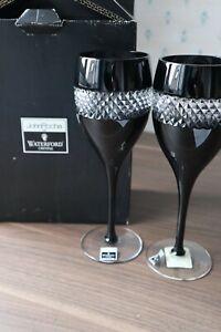 "2 Waterford Crystal ""Black Cut"" John Rocha Wine Glasses Unused +Labels +Box 23cm"