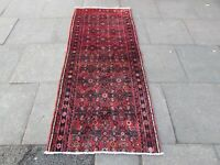Vintage Fragment Traditional Hand Made Oriental Wool Red Long Runner 210x88cm