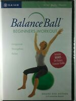 Gaiam Balance Ball Beginners Workout DVD Deluxe Edition w/Guide FACTORY SEALED