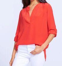 Diane Von Furstenberg $268 ESTI Button Tab Cuff Sleeves Silk Blouse Tango Sz 8