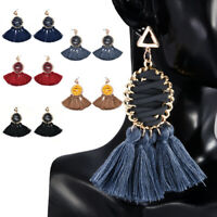 Ethnic Bohemian Long Tassel Fringe Boho Ear Stud Dangle Earrings Jewelry Women