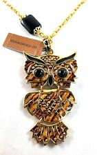Jay Strongwater Addison Owl Pendant Necklace Tiger's Eye