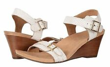 Vionic w/Orthaheel NOBLE LAURIE Leather Wedge Sandals WHITE SNAKE Size 9.5 W NIB