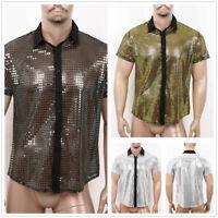 Men Sequin Short Sleeve Crop Tops Tee T-shirts 70s Disco Party Blouse Nightclub