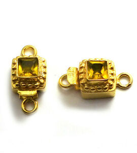 1 PC CITRINE BOX CLASP 1 STRAND 18K GOLD PLATED 809 AS-360
