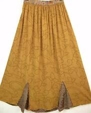 Sk207~Tienda Ho~GOLD& BROWN~Gored MAXI Skirt~EMBROIDERED~Rayon~DIAMOND~OS XL 1X?