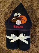 Personalized Sports Balls Navy Hooded Towel