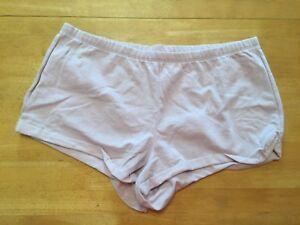 New Victoria's Secret Pale Lilac Fleece Sleep SHORTS Cuffed L Cotton Polyester
