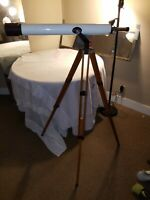 Vintage Embassy Auto Chromatic Coated Lens 50X60 Mm Telescope With Wooden Tripod