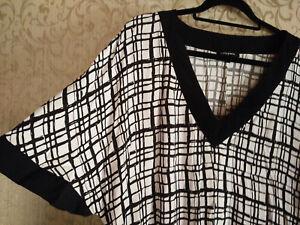 Dress/ Tunic Size 18+ Black & white Geometric print Black panel-Bellecurve Brand