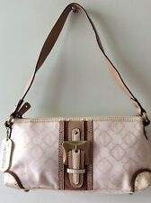 TIGNANELLO real leather trim and fabric cream and beige underarm handbag