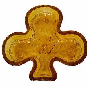 Amber Glass Tiara ashtray shamrock ash tray clover vtg art deco nut candy dish
