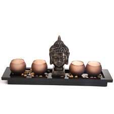 Thai Buddha Head Ornament Statue With 2 Candle Holders Christmas Gift Set Yd79 3 Sets