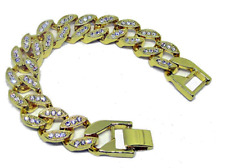 Fully iced Out Miami Cuban Link 14K Gold Plated HipHop Bling Bracelet